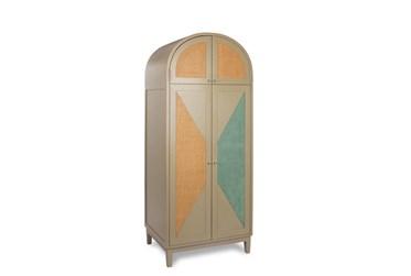 Taupe + Grey + Seafoam Green Bishop Tall Cabinet