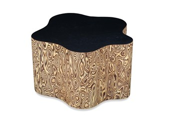 Natural Burl + Black Accent Table