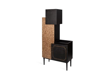 Burl Recon + Charcoal Wine Tower Cabinet