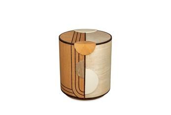 Maple Oak Ebony + Ivory White Accent Table