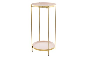 2-Tier White And Gold Tray Accent Table
