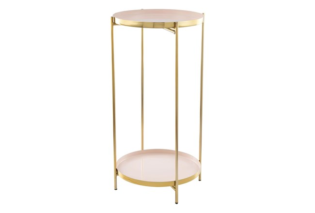 2-Tier White And Gold Tray Accent Table - 360