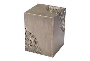 Square Antique Gold Perforated Accent Table