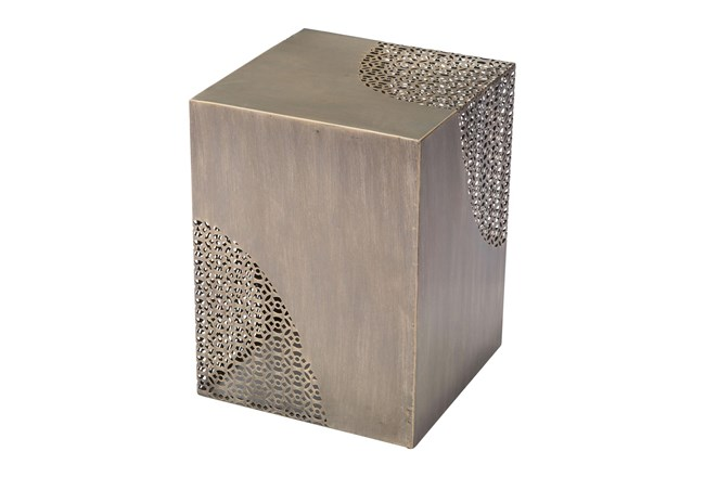 Square Antique Gold Perforated Accent Table - 360