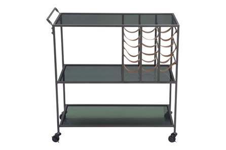 Black Metal And Glass Bar Cart - Main