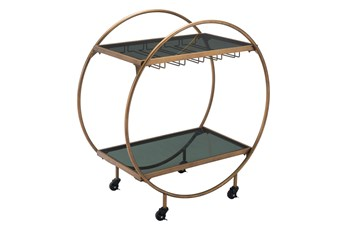 Gold And Black Circle Bar Cart