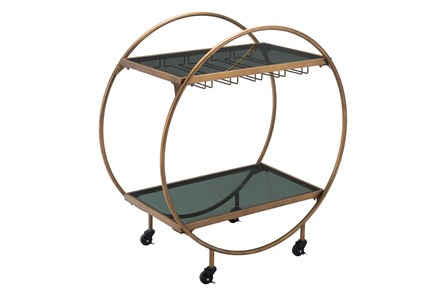 Gold And Black Circle Bar Cart - Main