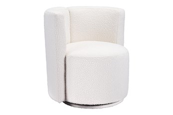White Textured Barrel Swivel Chair