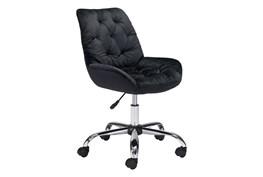 Black Velvet Tufted Desk Chair