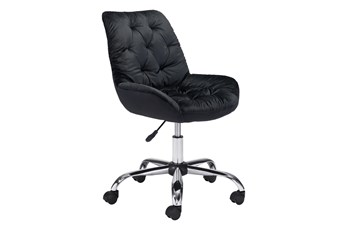 Black Velvet Tufted Desk Chair