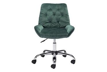 Green Velvet Tufted Rolling Office Chair