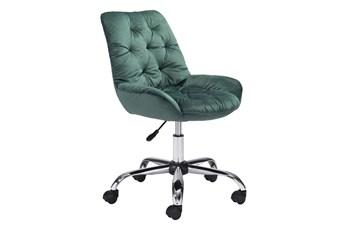 Green Velvet Tufted Office Chair