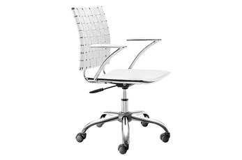 White Vegan Leather Woven Strap Desk Chair