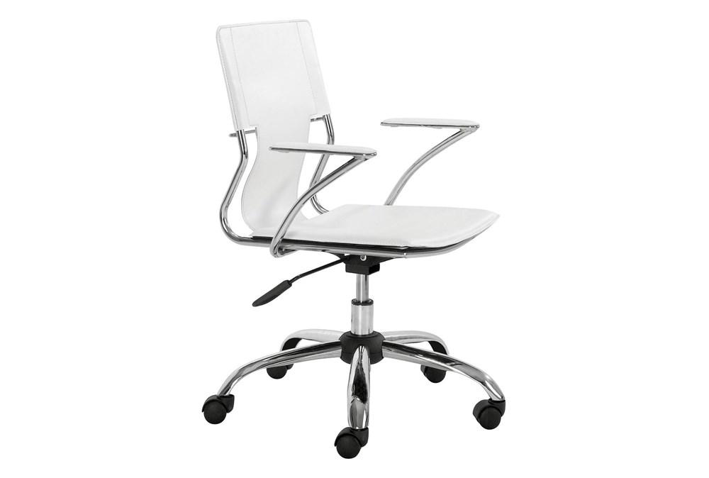 White Vegan Leather Sling Seat Desk Chair