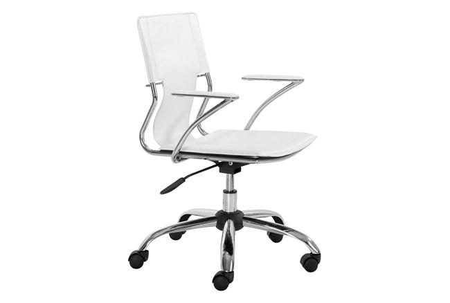 White Vegan Leather Sling Seat Desk Chair - 360