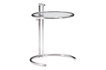 Round Chrome And Glass Side Table