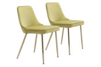 Green Velvet And Gold Dining Chair Set Of 2