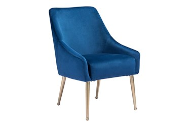 Blue Velvet And Gold Dining Chair With Pull