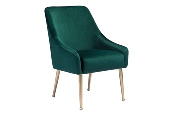 Green Velvet And Gold Dining Chair With Pull