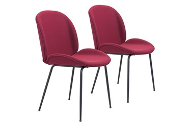 Red Scooped Dining Chair Set Of 2