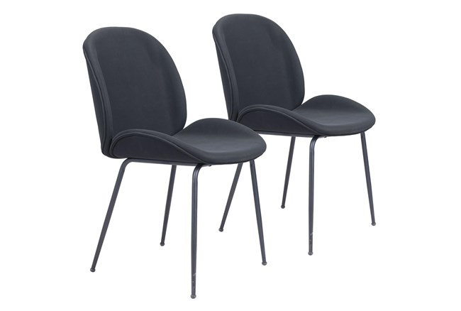 Black Scooped Dining Chair Set Of 2 - 360