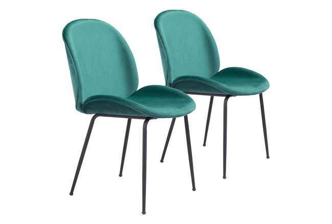 Green Scooped Dining Chair Set Of 2 - 360