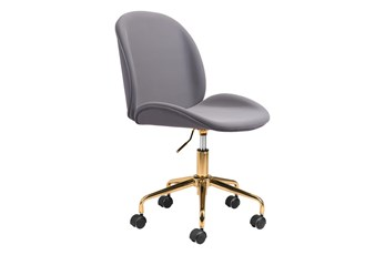 Gray Velvet And Gold Desk Chair
