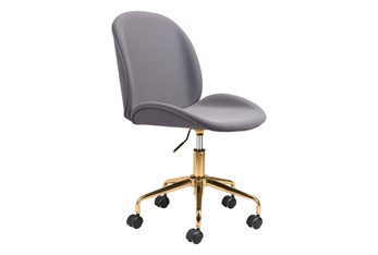 Gray Velvet And Gold Desk Chair
