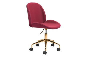 Red Velvet And Gold Desk Chair