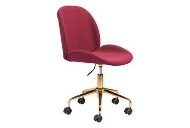 Red Velvet And Gold Desk Chair