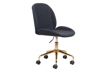Black Velvet And Gold Desk Chair