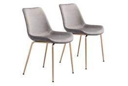 Grey Velvet Bucket Seat Dining Chair Set Of 2