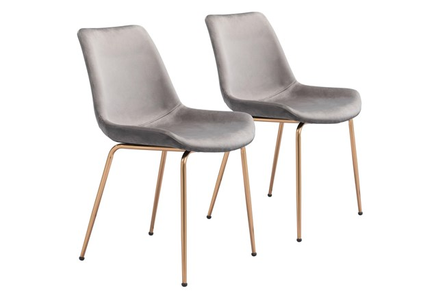 Grey Velvet Bucket Seat Dining Chair Set Of 2 - 360