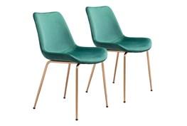 Green Velvet Bucket Seat Dining Chair Set Of 2