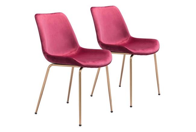 Red Velvet Bucket Seat Dining Chair Set Of 2 - 360