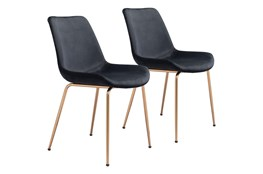 Black Velvet Bucket Seat Dining Chair Set Of 2
