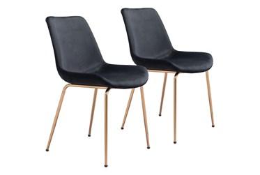 Black Velvet Bucket Seat Dining Chair Set Of 2