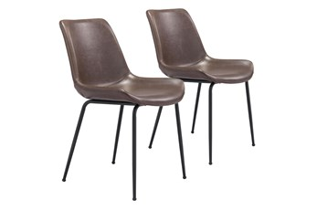 Brown Vegan Leather Bucket Seat Dining Chair Set Of 2