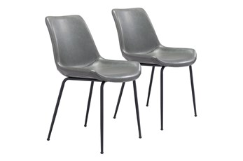 Grey Vegan Leather Bucket Seat Dining Chair Set Of 2