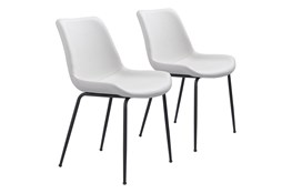 White Vegan Leather Bucket Seat Dining Chair Set Of 2
