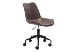 Brown Vegan Leather Bucket Seat Desk Chair