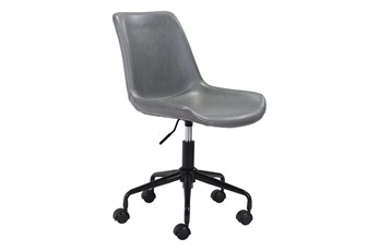 Grey Vegan Leather Bucket Seat Office Chair