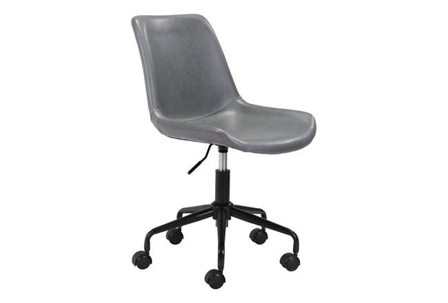 Grey Vegan Leather Bucket Seat Office Chair - 360