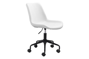 White Vegan Leather Bucket Seat Desk Chair