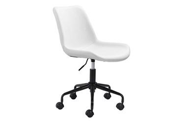 White Vegan Leather Bucket Seat Desk Chair