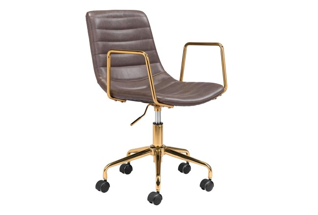 Gold And Brown Channeled Vegan Leather Desk Chair - 360