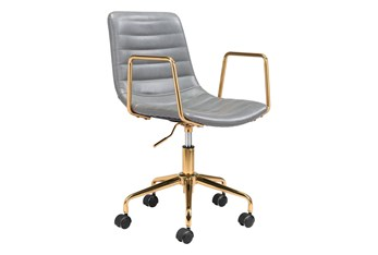 Gold And Grey Channeled Vegan Leather Desk Chair