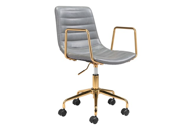 Gold And Grey Channeled Vegan Leather Desk Chair - 360