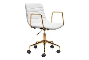 Gold And White Channeled Vegan Leather Desk Chair