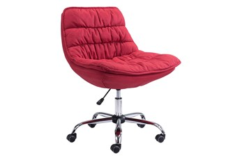 Red Plush Velvet Desk Chair